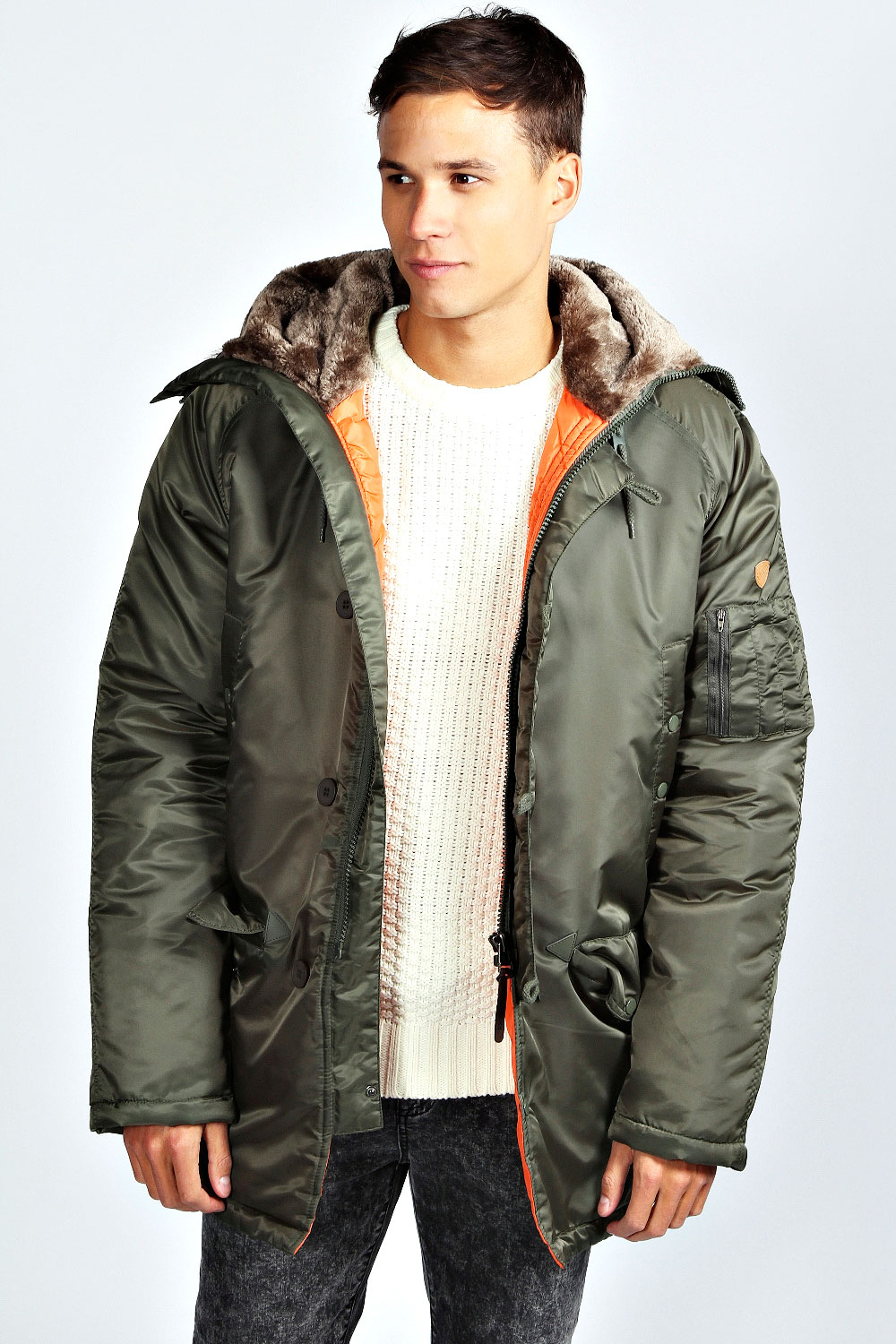 Mens Bomber Parka with Faux Fur Trimmed Hood Famous Maker isn't a brand, think of it as a deal so fabulous we can't even reveal the actual label. It's just one of the many ways we work hard to bring you top designers and brands at amazing values.