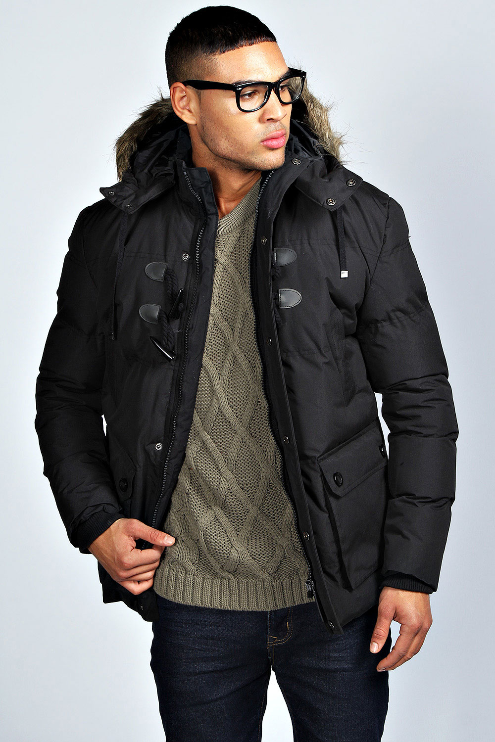 Boohoo Mens Padded Parka Coat With Toggles | EBay