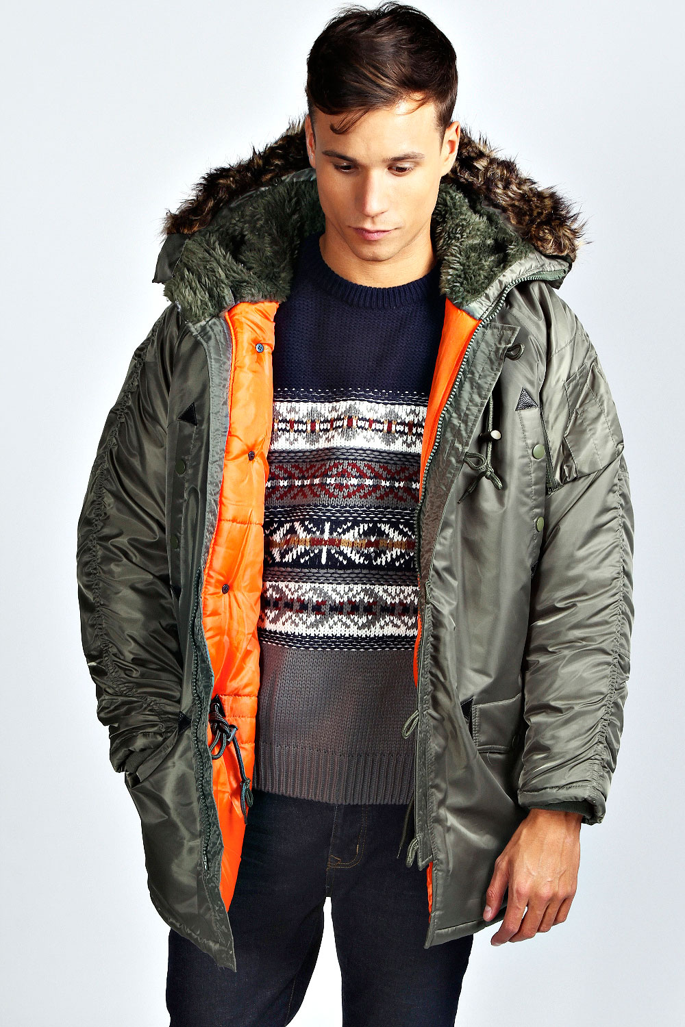 Boohoo Mens Chunky Parka Jacket With Fur Lined And Fur Trimmed ...
