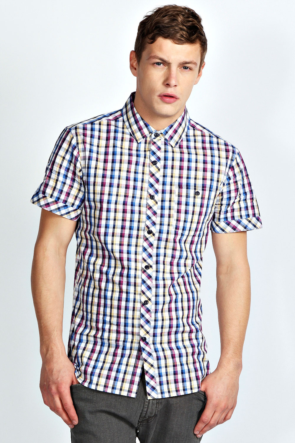 Boohoo-Mens-All-Over-Short-Sleeve-Check-Top-Shirt-In-Multi