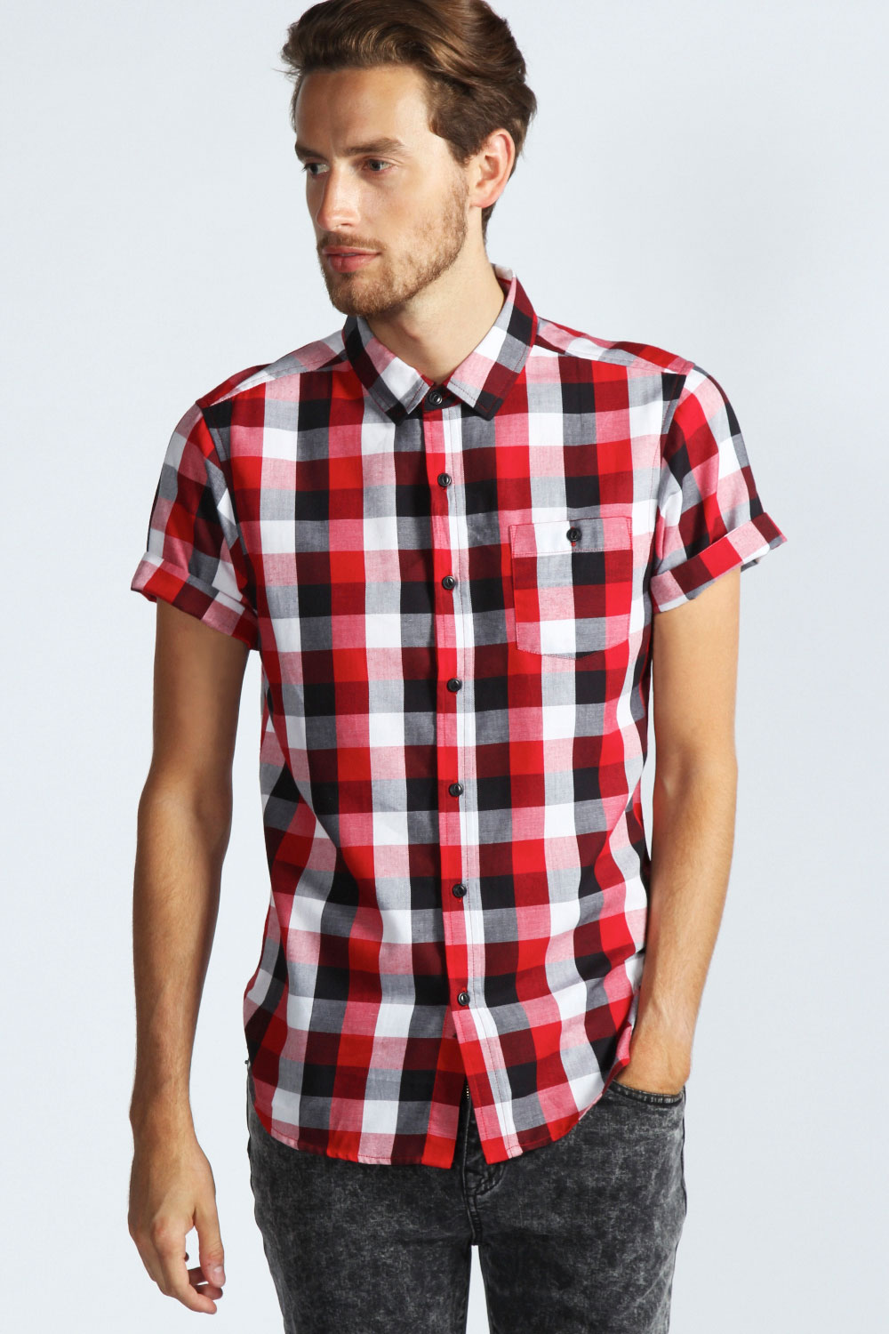 Boohoo-Mens-Short-Sleeve-Buffalo-Check-Top-Shirt-In-Red