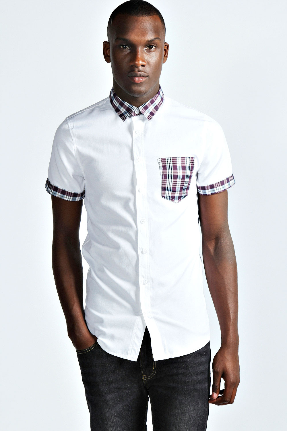 Boohoo-Mens-Short-Sleeve-Cotton-Blend-Shirt-With-Check-Trims