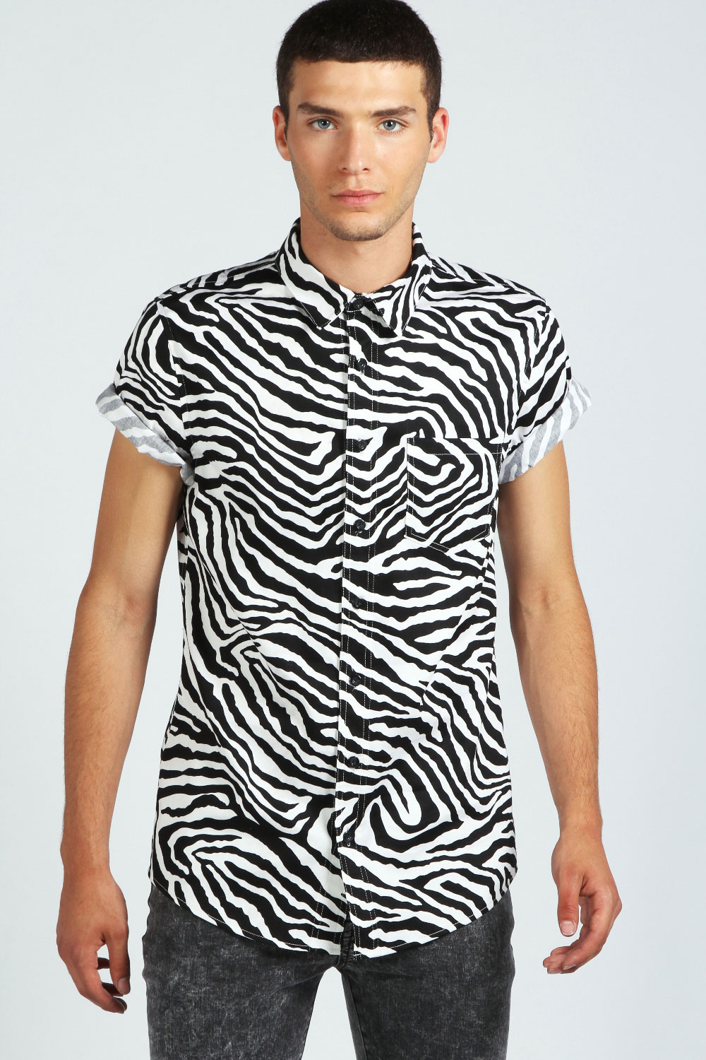 Boohoo mens short sleeve zebra print cotton top shirt in for Printed shirts for men