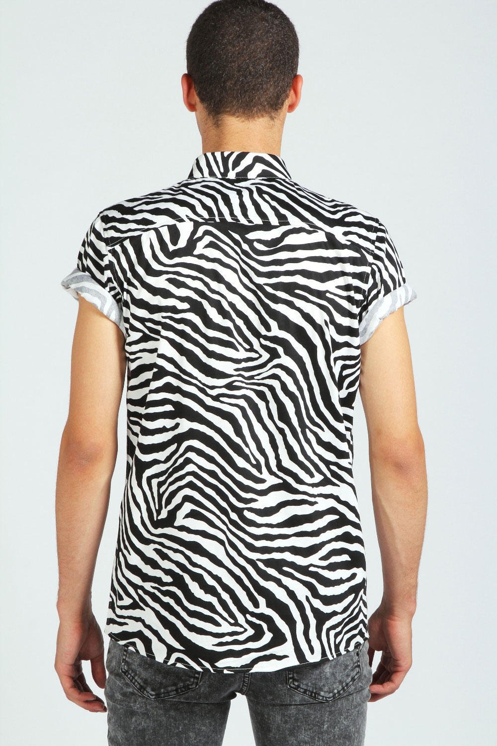 Boohoo Mens Short Sleeve Zebra Print Cotton Top Shirt In White | eBay