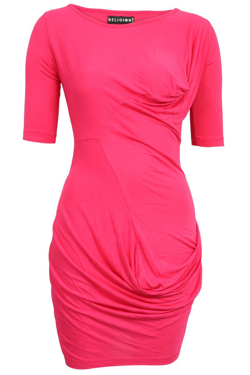 RELIGION-CLOTHING-WOMENS-HOT-PINK-LADIES-BODYCON-SPUN-MINI-DRESS-SIZE-6-14-UK