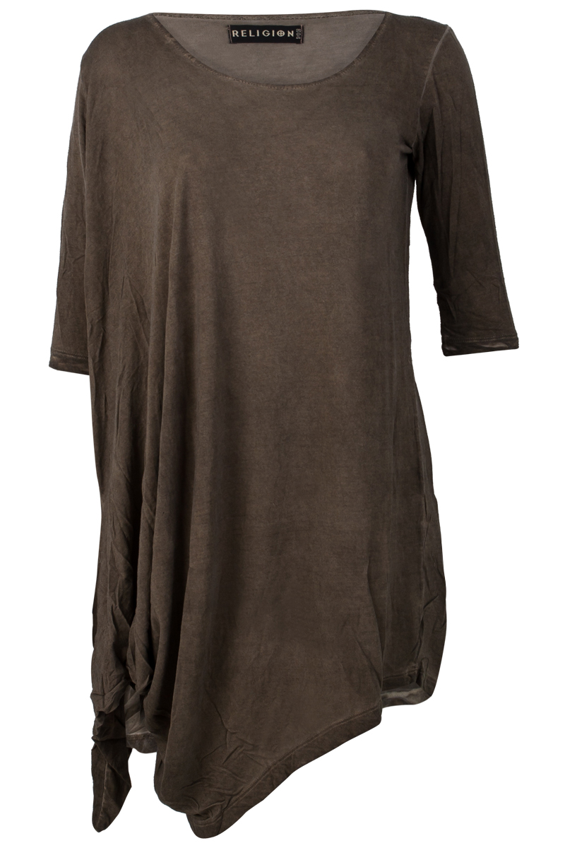 RELIGION-CLOTHING-NEW-WOMENS-TAUPE-GREEN-LADIES-ASYMMETRIC-HEM-DRESS-SIZE-6-14
