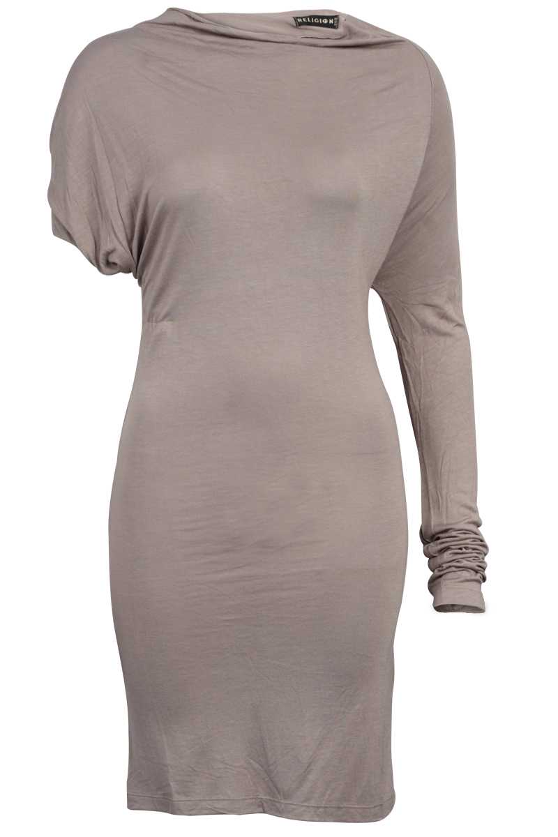 RELIGION-CLOTHING-NEW-WOMEN-TAUPE-BROWN-LADIES-ONE-SLEEVE-DRESS-SIZE-8-14-UK