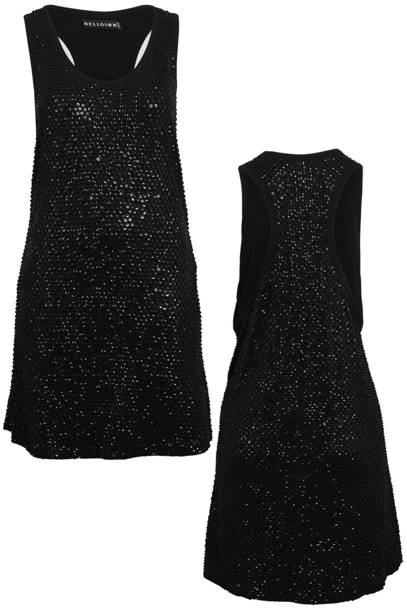 RELIGION-CLOTHING-NEW-WOMENS-BLACK-SEQUIN-BEADED-LADIES-MINI-DRESS-SIZE-8-14-DD