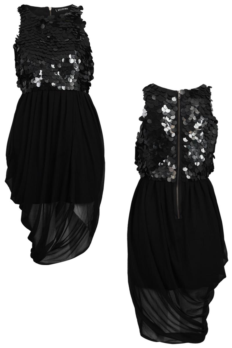 RELIGION-CLOTHING-WOMENS-BLACK-SEQUINED-LADIES-ASYMMETRIC-DRESS-SIZE-8-14-DD