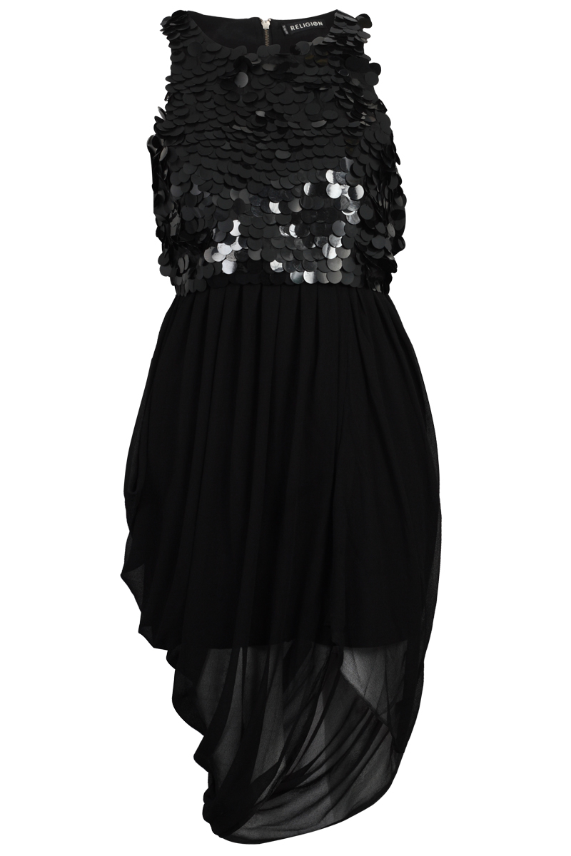 RELIGION-CLOTHING-WOMENS-BLACK-SEQUINED-LADIES-ASYMMETRIC-DRESS-SIZE-8-14-DD