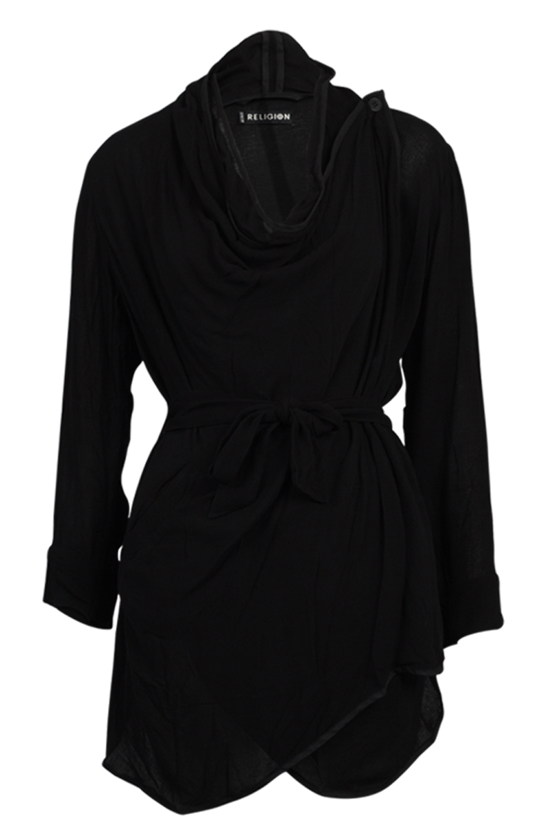 RELIGION-CLOTHING-WOMENS-JET-BLACK-BURIED-DRAPE-LONG-SLEEVE-JACKET-SIZE-6-16-UK