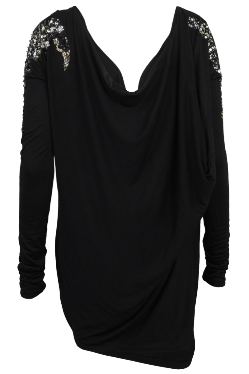 RELIGION-CLOTHING-WOMENS-BLACK-BEADED-LADIES-LONG-SLEEVED-DRAPE-DRESS-SIZE-8-14