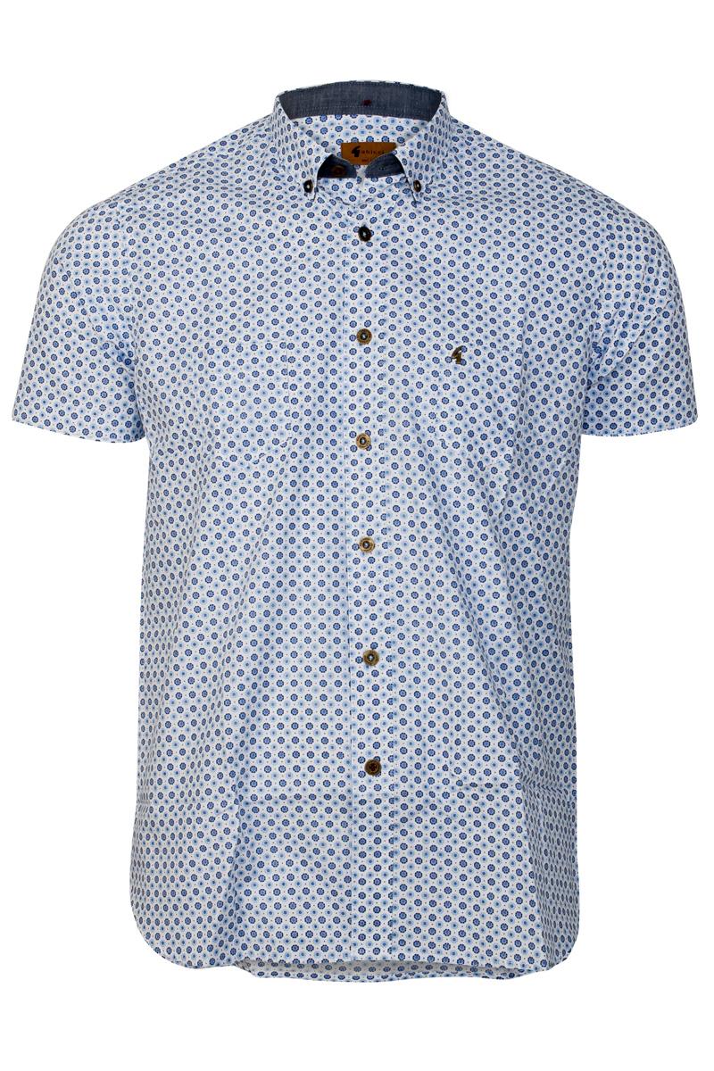 New gabicci vintage mens sky blue floral print short for Blue floral shirt mens