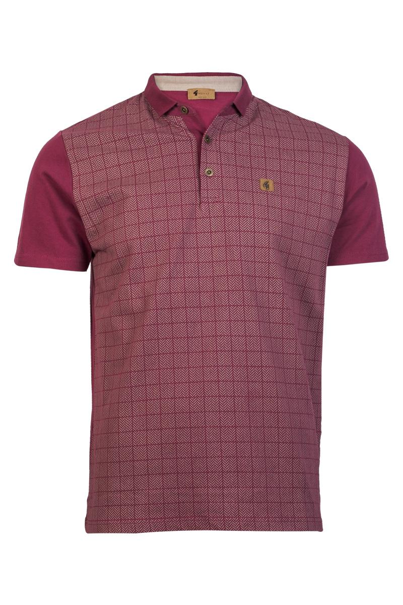 Gabicci vintage mens burgundy red zig zag printed polo for Xxl mens polo shirts