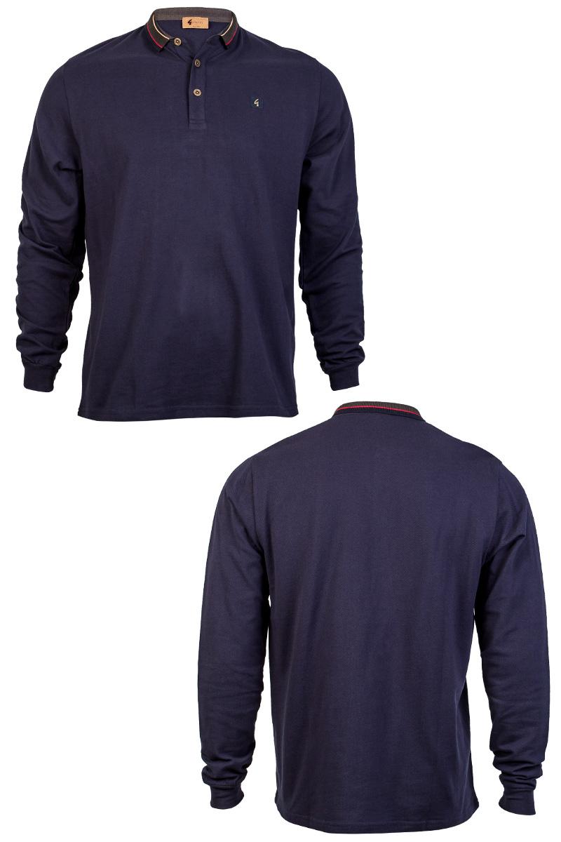 New Gabicci Vintage Mens Navy Blue Long Sleeve Collared