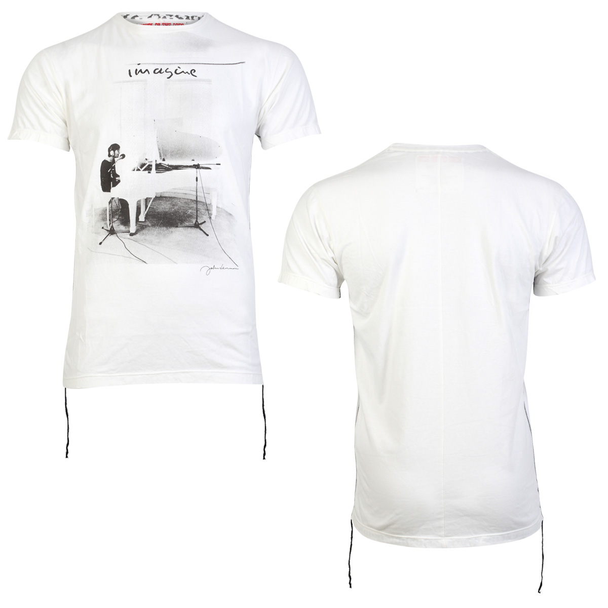 HOUSE-OF-THE-GODS-MENS-WHITE-JOHN-LENNON-PRINTED-SHORT-SLEEVE-T-SHIRT-SIZE-S-XXL