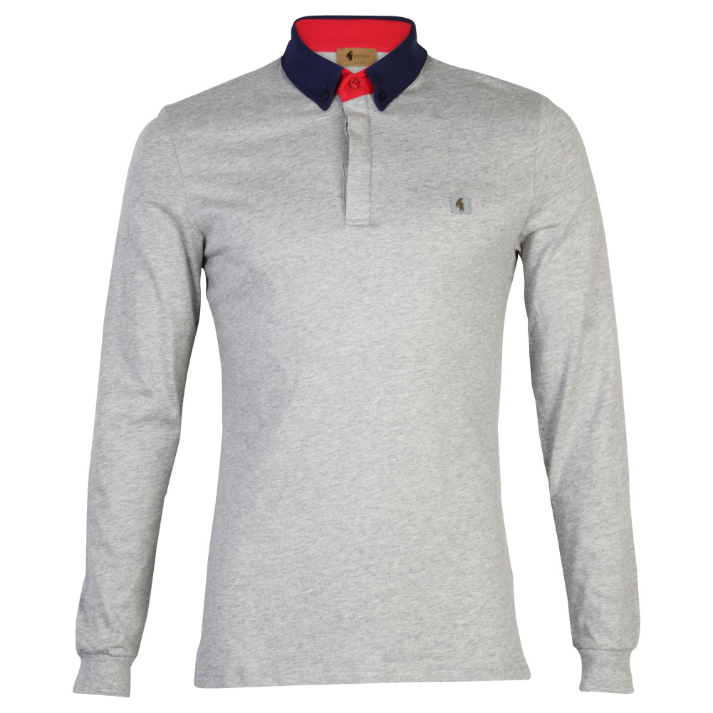 New Mens Gabicci Vintage Long Sleeve Polo Collared Rugby