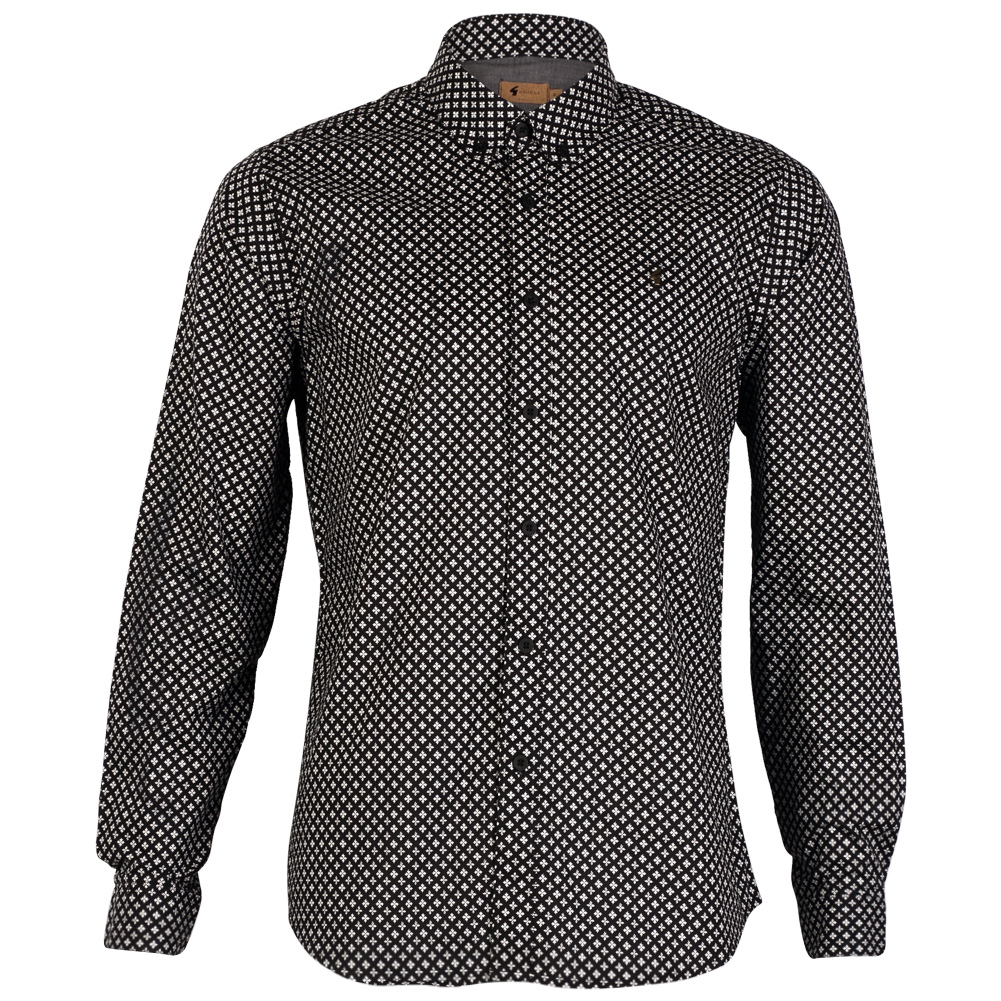 New Gabicci Vintage Mens Long Sleeve Button Up Printed