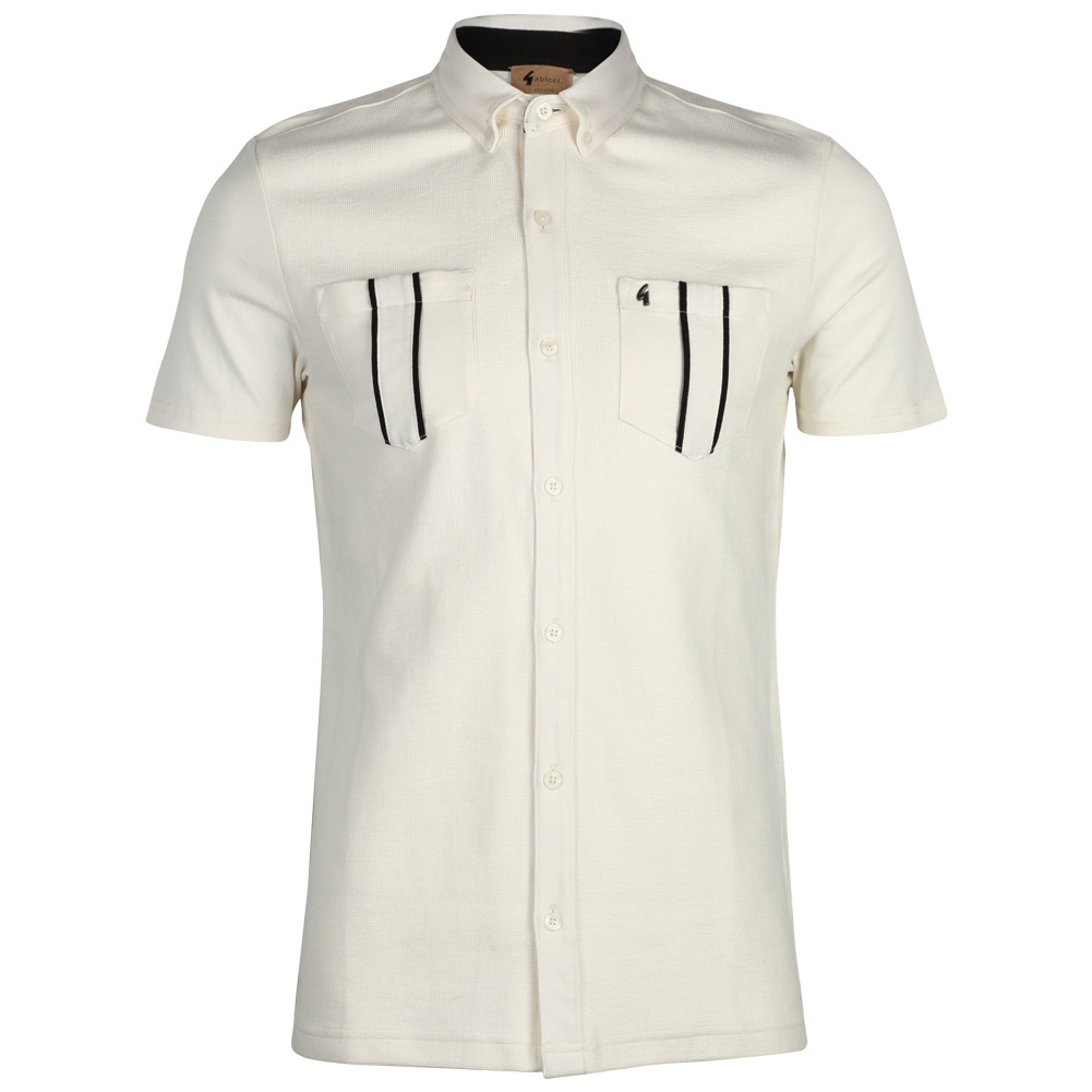 New gabicci vintage mens short sleeved button up collar t for Button collar t shirt