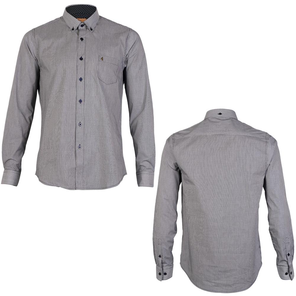 New gabicci vintage mens navy blue striped collared long for Navy blue striped long sleeve shirt
