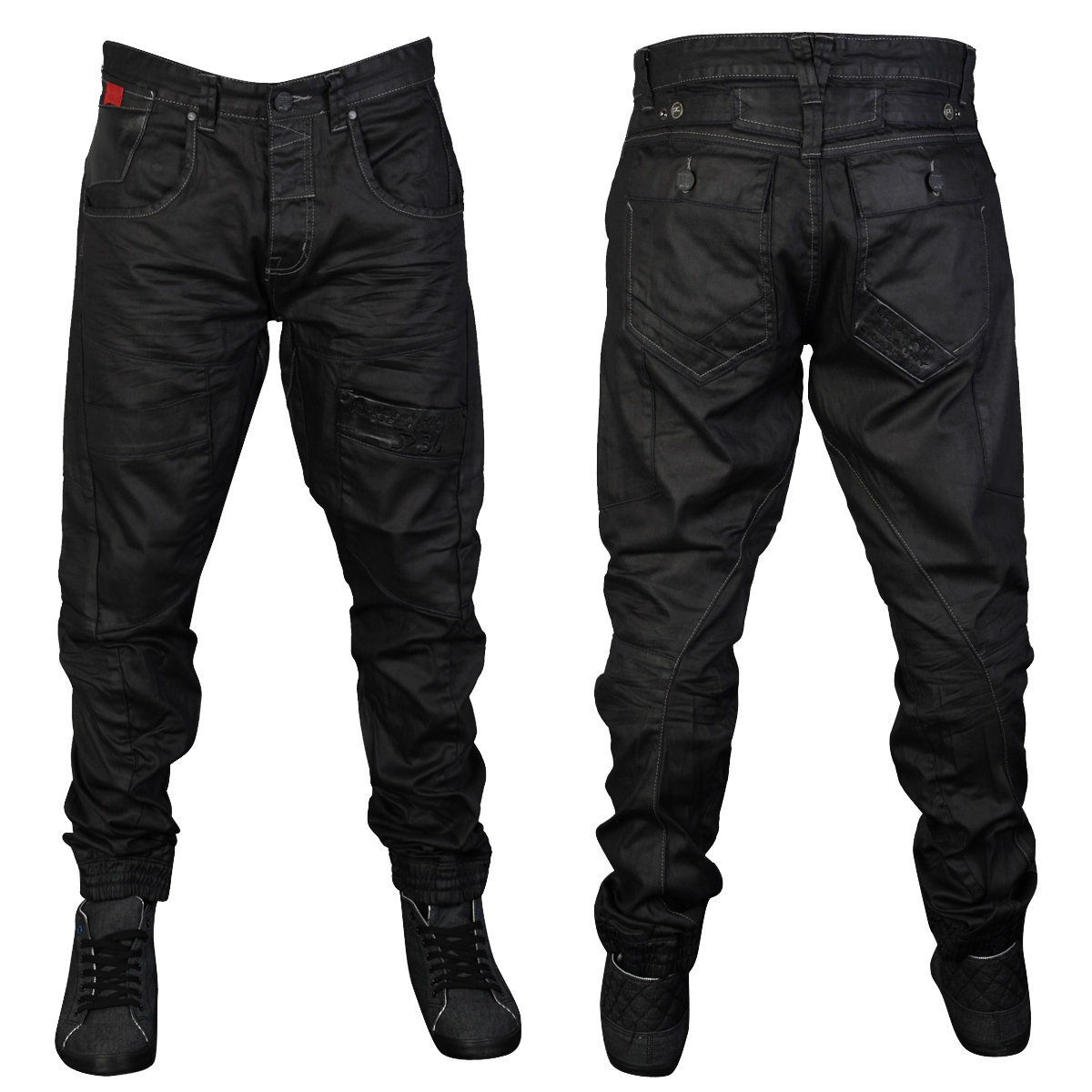 MENS RAWCRAFT DARWIN COATED CARGO STRAIGHT FIT DENIM JEANS ...