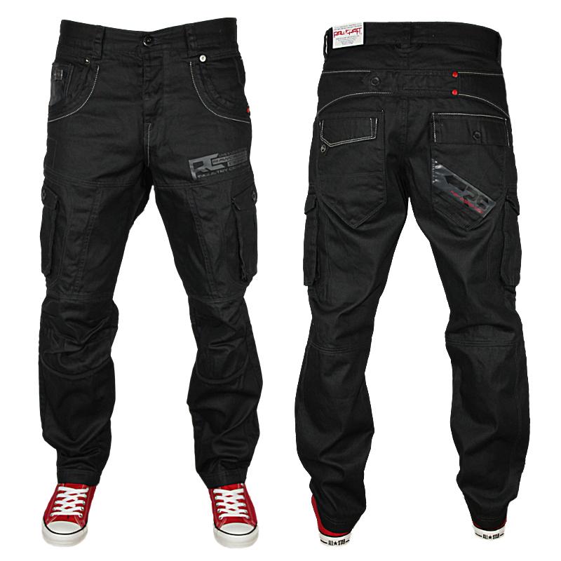 Mens Black Jeans Cargo Straight leg Button Fly Denim Pants ...