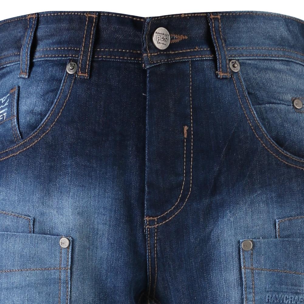 Rawcraft Designer Mens Jeans Button Fly Straight Leg Cargo Combat Denim Pants | eBay