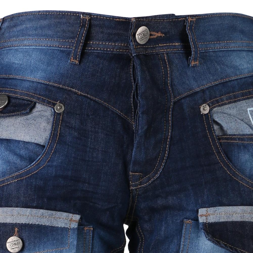 Rawcraft Designer Mens Cargo Combat Jeans Button Up Pockets Faded Denim Pants | eBay