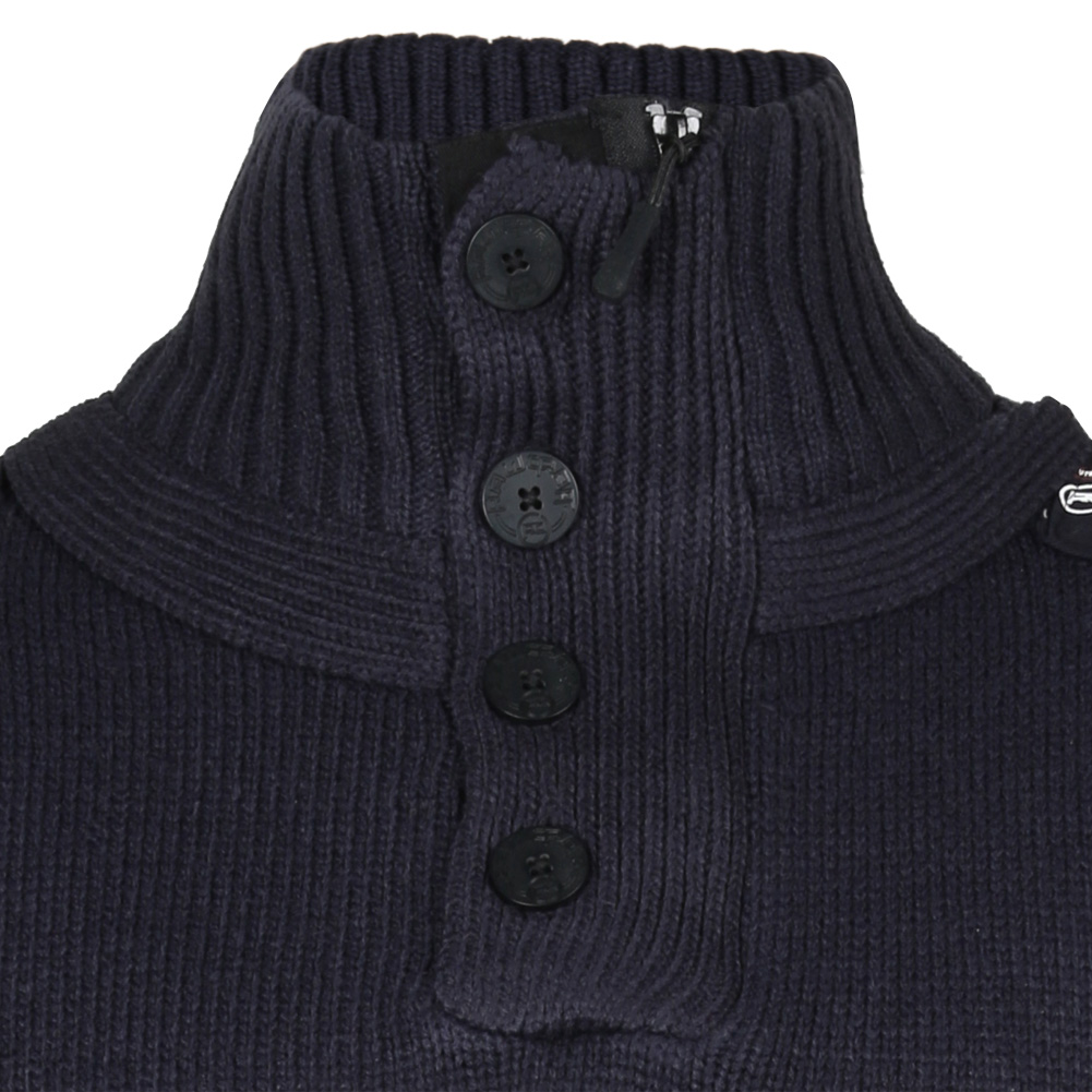 Rawcraft Mens Knitted Jumper Funnel Neck Chunky Knitwear Sweater ...