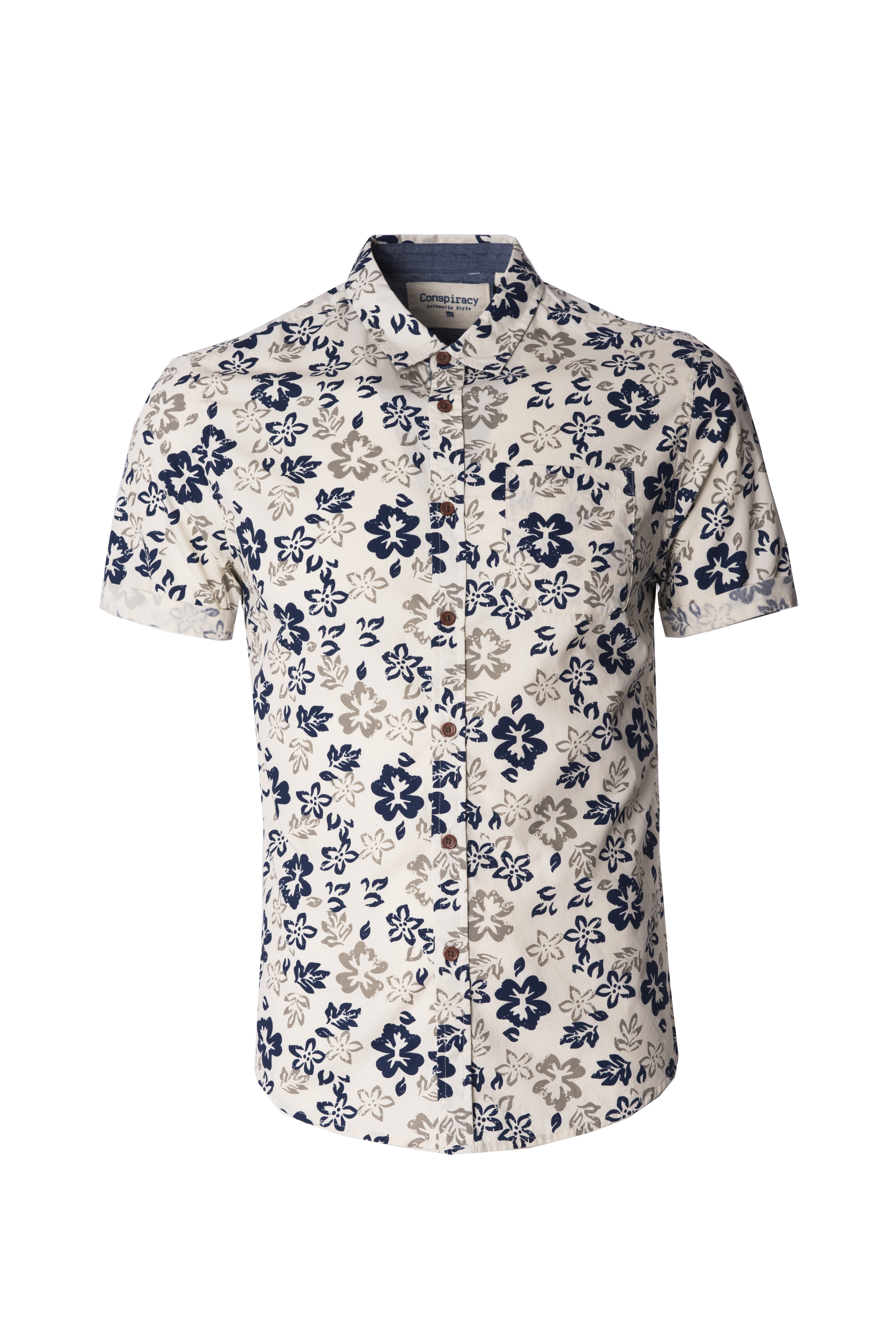 New mens conspiracy floral pattern design caryl short for Mens short sleeve patterned shirts