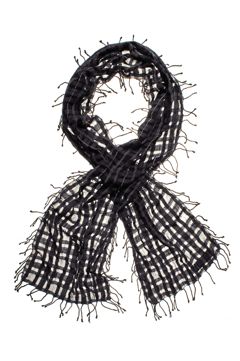 NEW-RELIGION-LADIES-GREY-CHECKED-TASLE-FRINGED-COTTON-WOMENS-SCARF-ONE-SIZE-UK