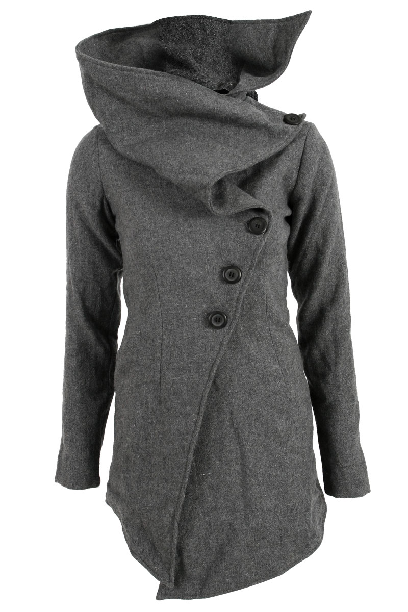 RELIGION-WOMENS-GREY-LADIES-WOOLLEN-COLLARED-BUTTON-UP-WINTER-COAT-SIZE-8-14-UK