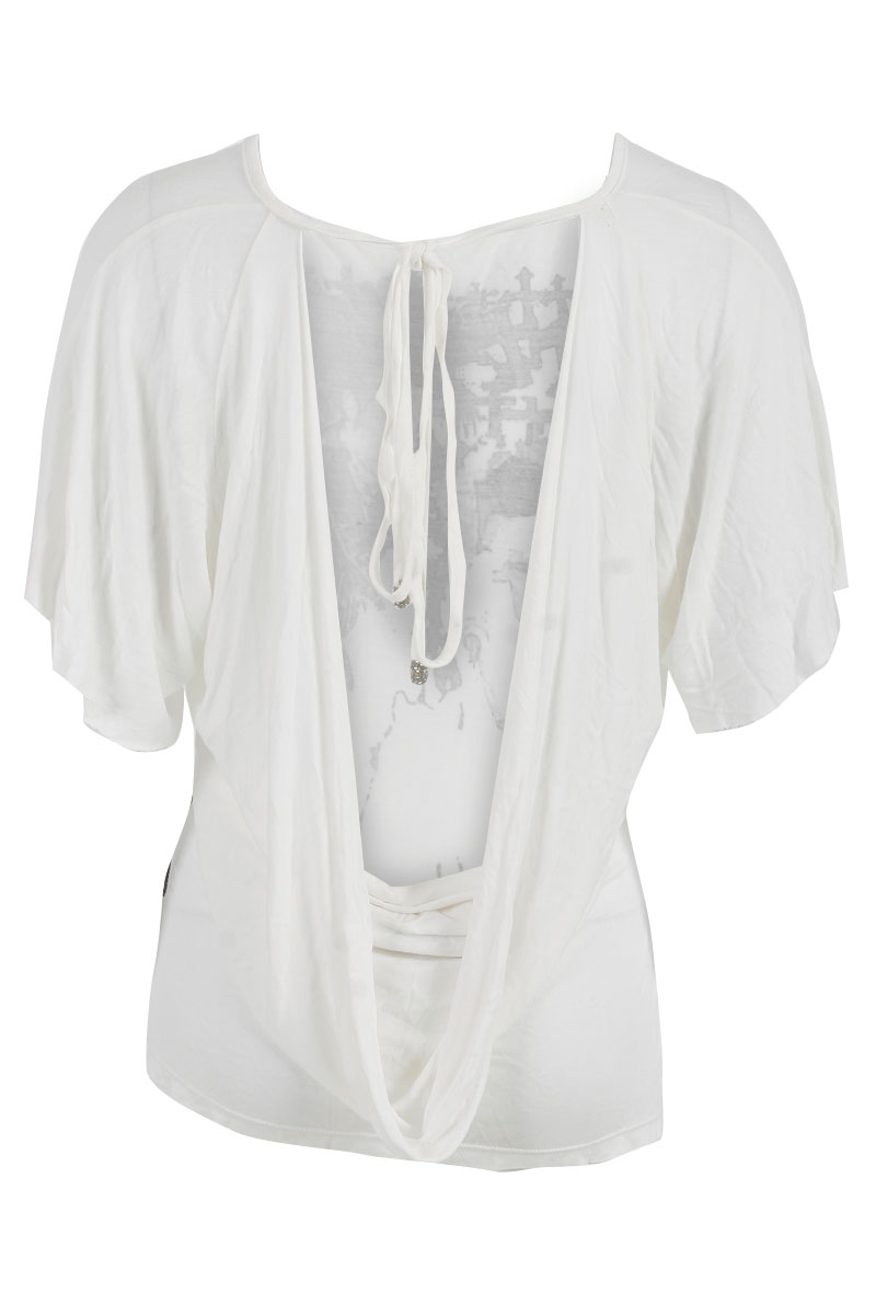 RELIGION-WOMENS-WINTER-WHITE-SHORT-SLEEVED-DRAPED-BACK-LADIES-TOP-SIZE-8-14-UK