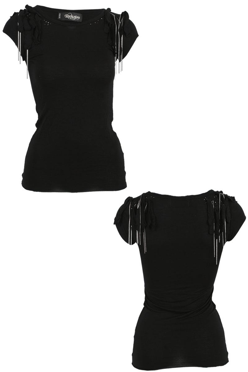RELIGION-LADIES-BLACK-WOMENS-FITTED-STRETCH-TASSEL-CHAIN-T-SHIRT-TOP-SIZE-8-14