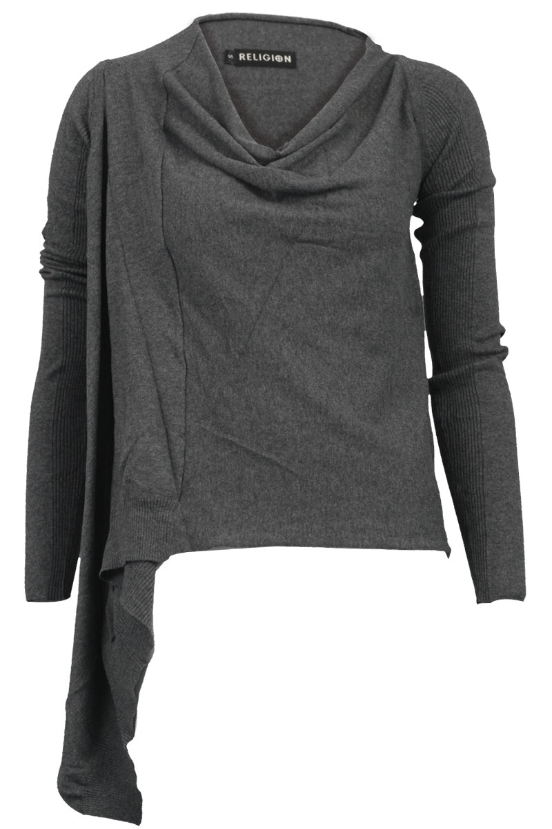 NEW-RELIGION-WOMENS-DARK-GREY-COWL-NECK-KNIT-LONG-SLEEVE-LADIES-JUMPER-SIZE-8-14