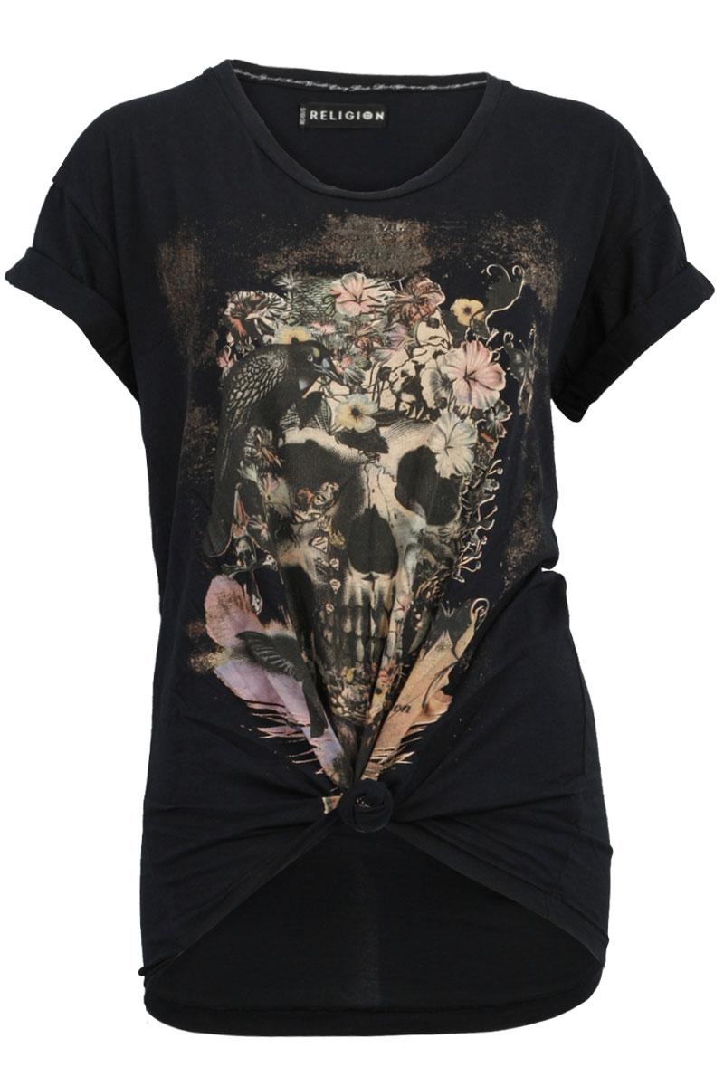Religion Womens Black Floral Skull Print Ladies Casual T