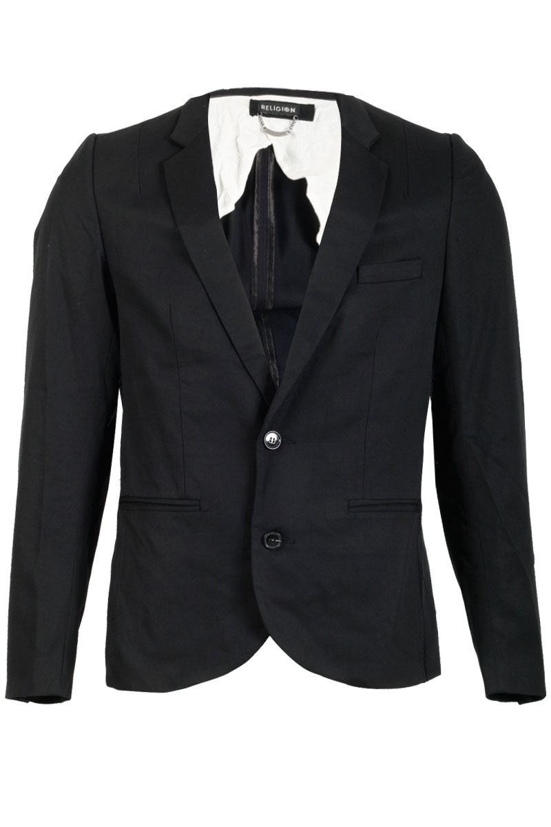 NEW-RELIGION-MENS-BLACK-LONG-SLEEVED-BLAZER-FRAYED-EFFECT-JACKET-SIZE-XS-XXL-UK