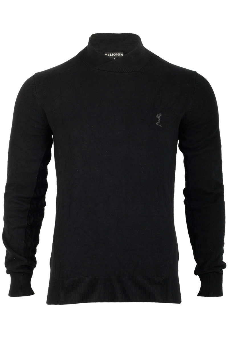 RELIGION-MENS-BLACK-LONG-SLEEVED-JUMPER-ELASTICATED-WAIST-BAND-TOP-SIZE-XS-XXL