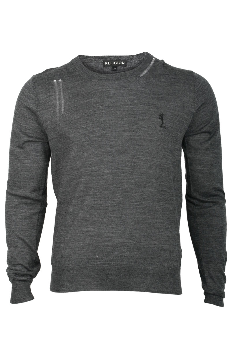 NEW-RELIGION-MENS-GREY-MARL-LONG-SLEEVED-JUMPER-CREW-NECK-THIN-KNIT-SIZE-XS-XXL