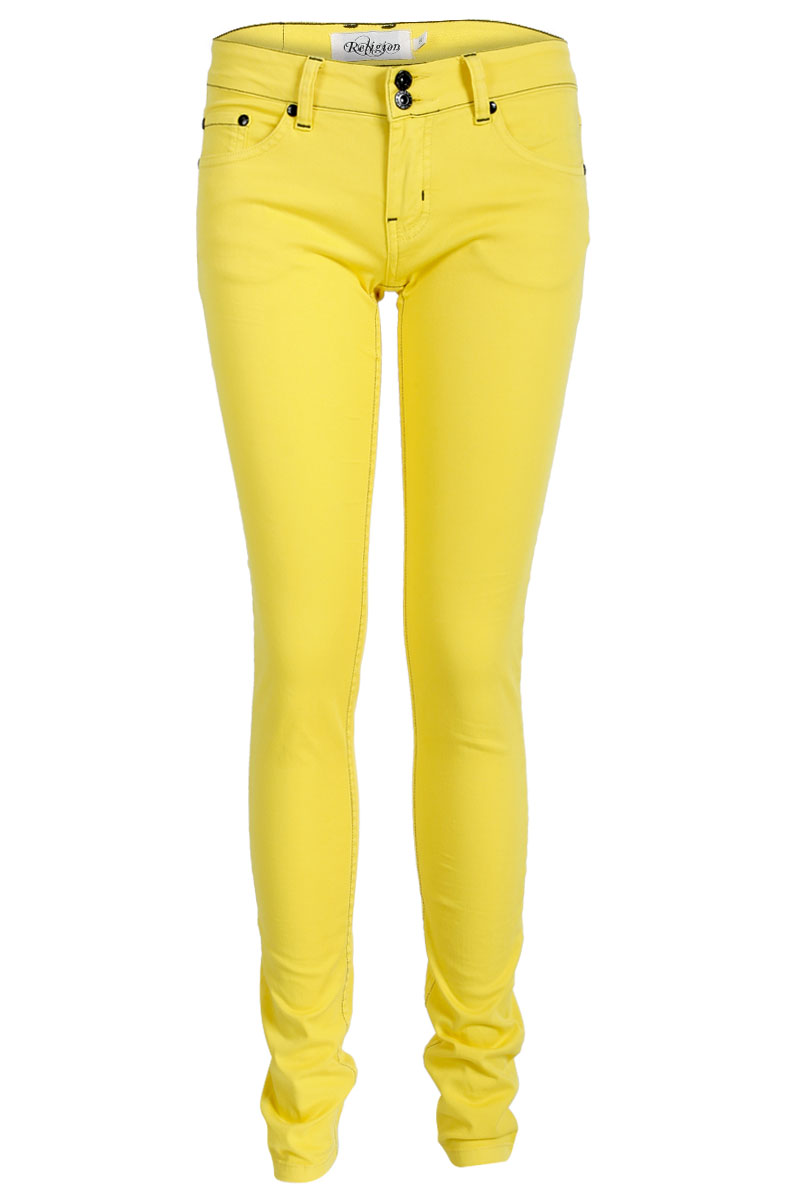 NEW-RELIGION-WOMENS-YELLOW-COLOURED-SLIM-FIT-LADIES-SKINNY-DENIM-JEANS-SIZE-8-14
