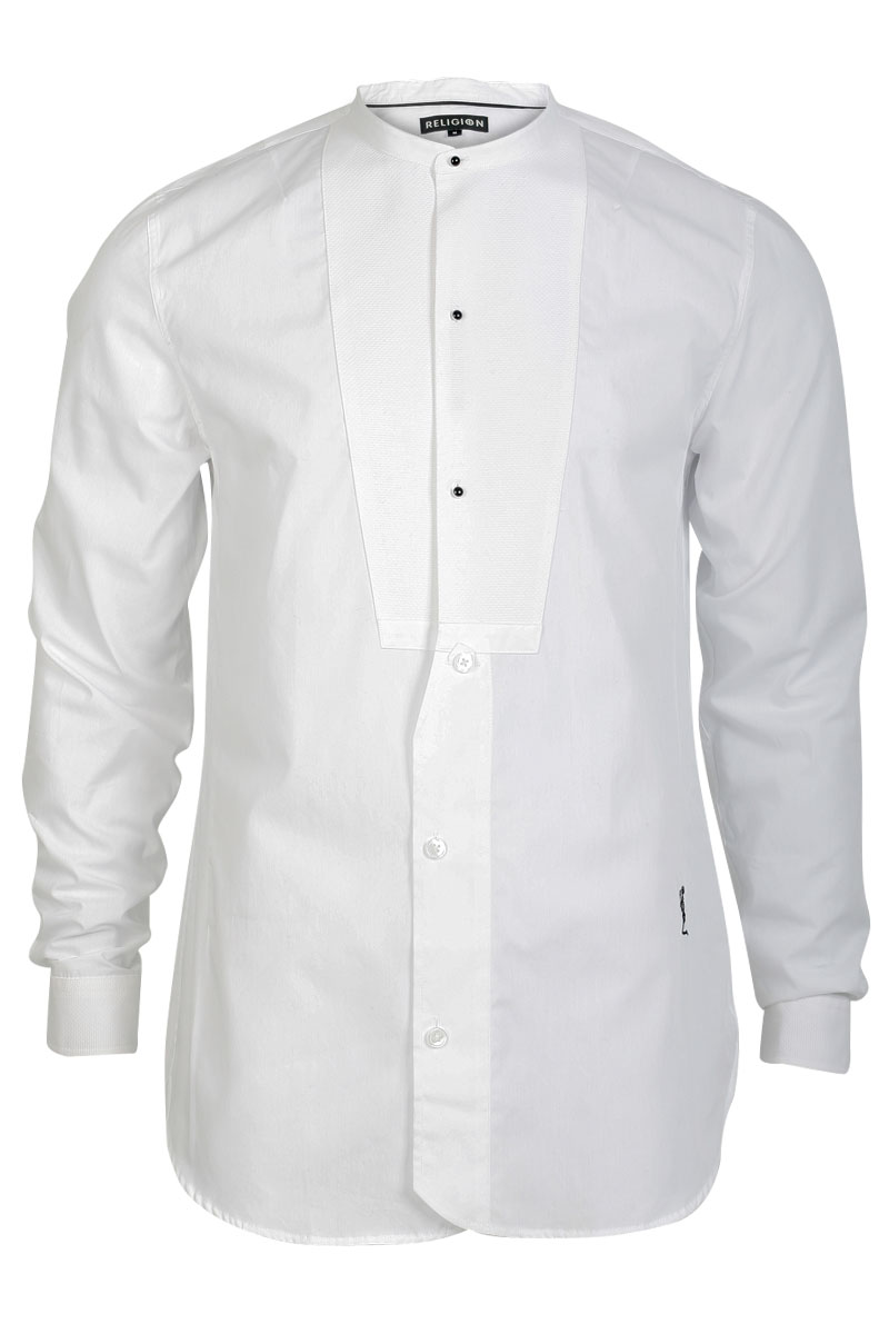 Religion mens white long sleeve shirt formal button no for Mens formal white shirts