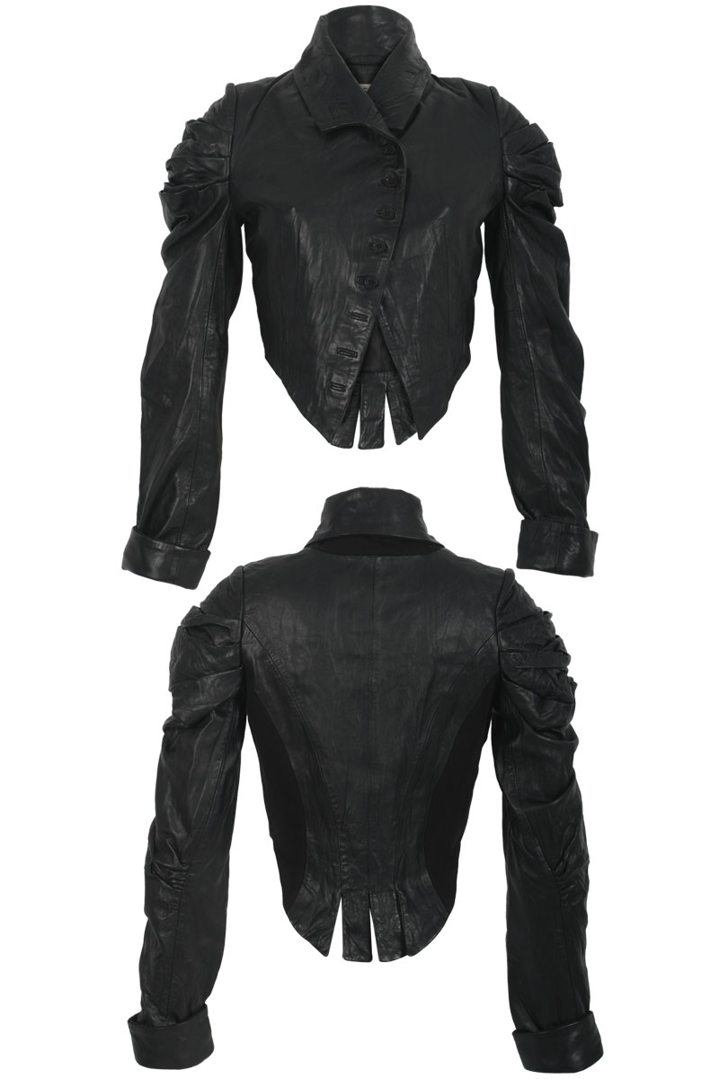 RELIGION-LADIES-BLACK-LEATHER-BUTTON-WOMENS-CROPPED-BIKER-TAIL-JACKET-SIZE-8-14