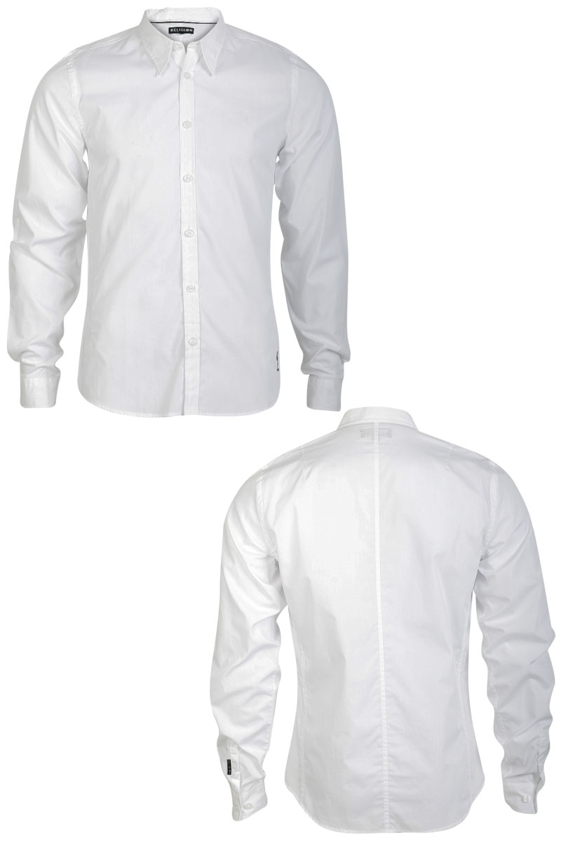 RELIGION-MENS-FITTED-WHITE-LONG-SLEEVE-SHIRT-FORMAL-CASUAL-TOP-SIZE-XS-XXL-UK