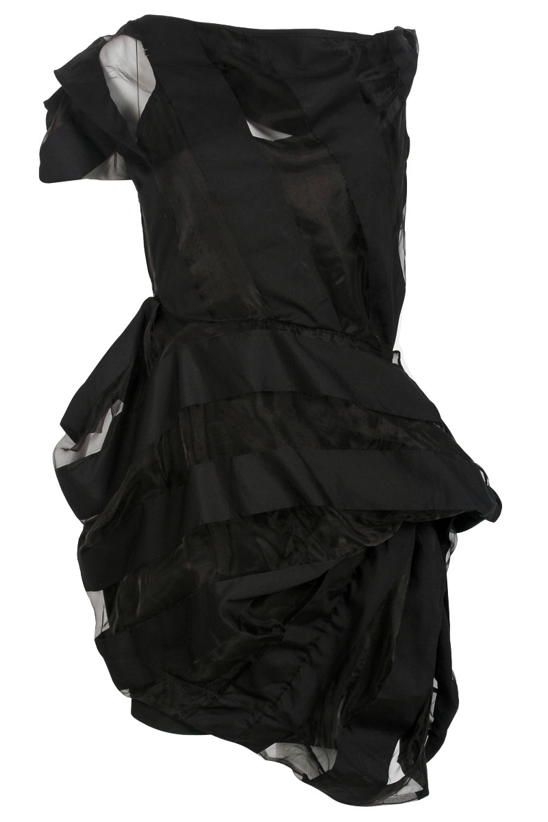 NEW-RELIGION-BLACK-SHEER-STRIPED-LADIES-SHORT-LAYERED-ASYMMETRIC-DRESS-SIZE-6-16