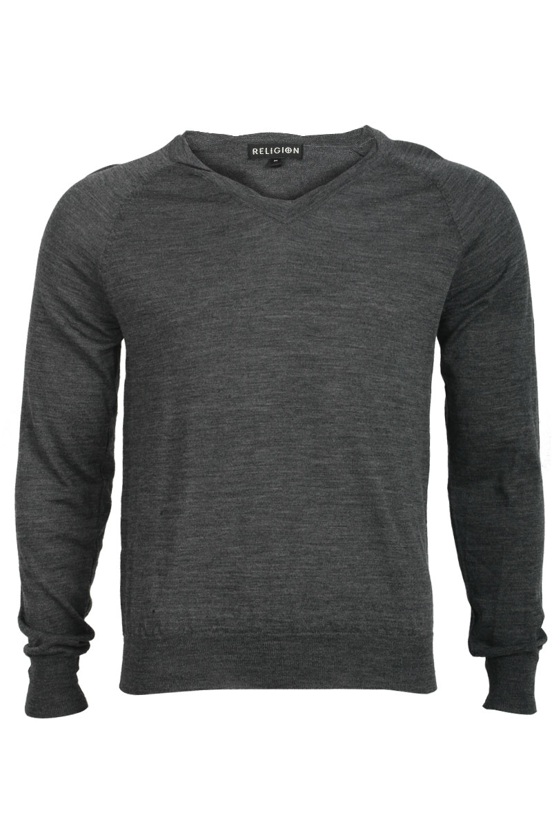 RELIGION-CLOTHING-MENS-CHARCOAL-GREY-JUMPER-THIN-KNIT-LONG-SLEEVED-SIZE-XS-XXL