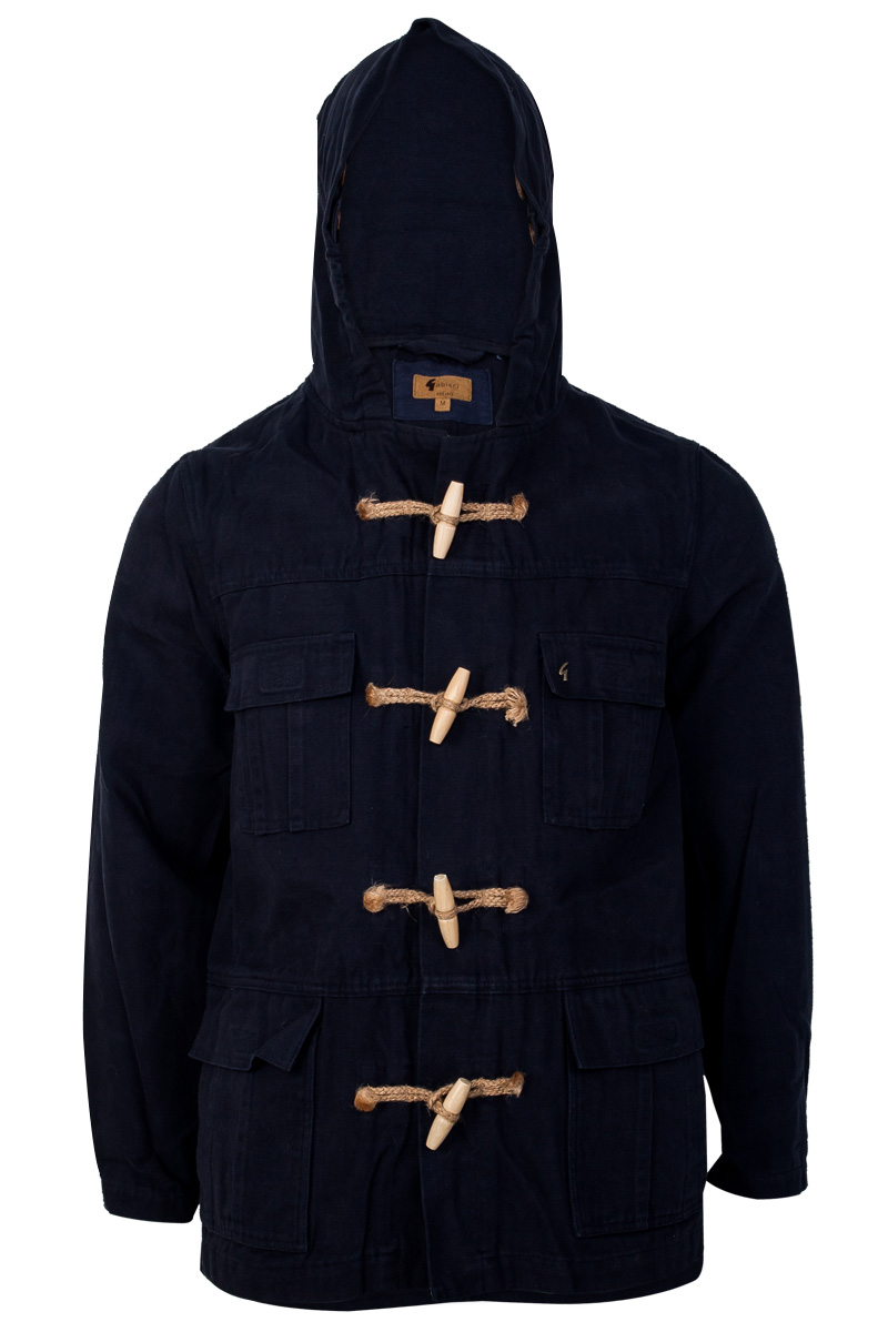 GABICCI MENS NAVY BLUE CANVAS DUFFLE LONG SLEEVED HOODED JACKET ...