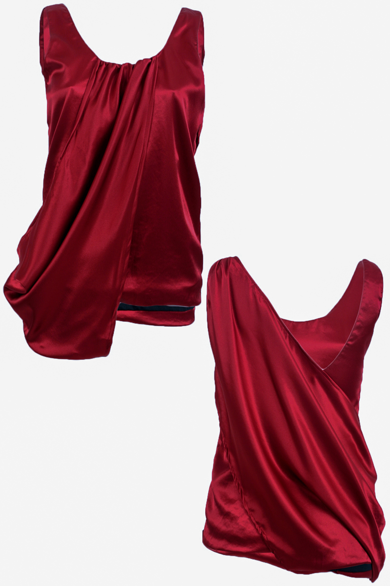 RELIGION-CLOTHING-LADIES-BLOOD-RED-SILK-WOMENS-FORMAL-DRAPE-VEST-TOP-SIZE-6-14