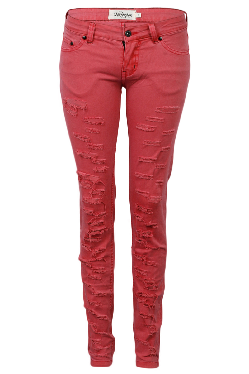 RELIGION-CLOTHING-LADIES-PINK-WASHED-WOMENS-RIPPED-DENIM-SKINNY-JEANS-SIZE-6-14