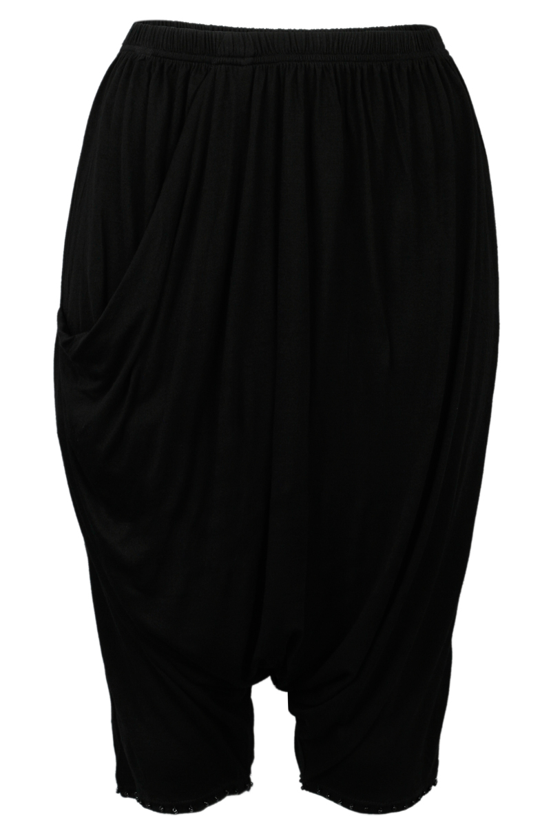 NEW-RELIGION-LADIES-JET-BLACK-HAREM-WOMENS-BEADED-CROPPED-TROUSERS-SIZE-6-14-UK