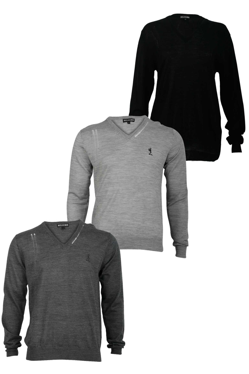 RELIGION-MENS-LONG-SLEEVED-JUMPER-V-NECK-THIN-KNITTED-TOP-BLACK-GREY-CHARCOAL